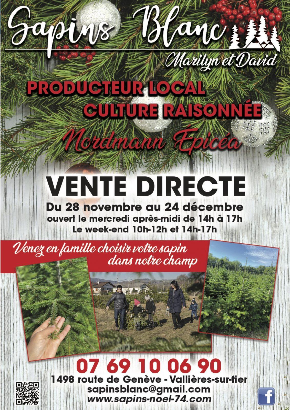 vente de sapins de noël sur place Vallières sur fier entre Annecy et Aix-les-Bains