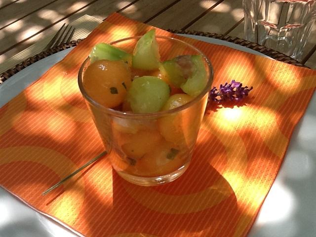 boule de melon et concombre